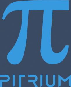Logo Pitrium Online Kurse hellblau dunkelblauer Hintergrund