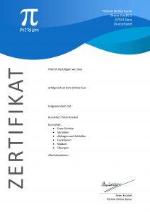 Python Grundlagen Zertifikat