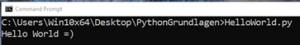 Python Grundlagen Online Kurs Pitrium Hello World Eingabeaufforderung