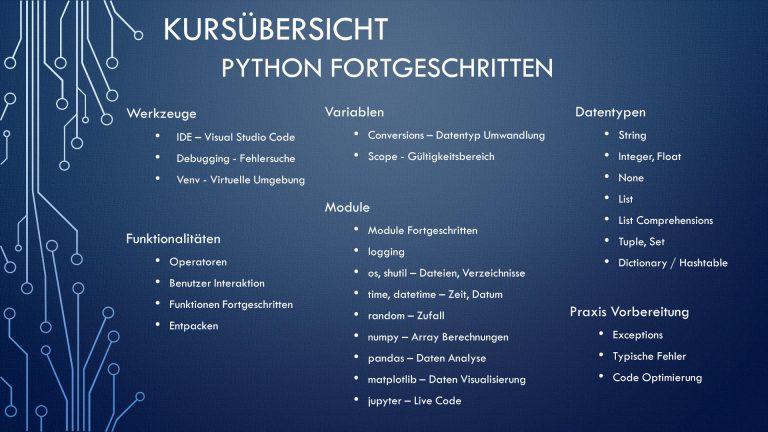 Kursübersicht Python Fortgeschritten