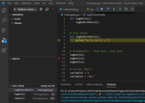 Visual Studio Code Debugging Call Stack