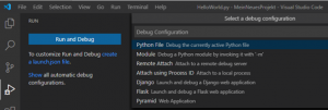 Visual Studio Code Debugging Konfiguration